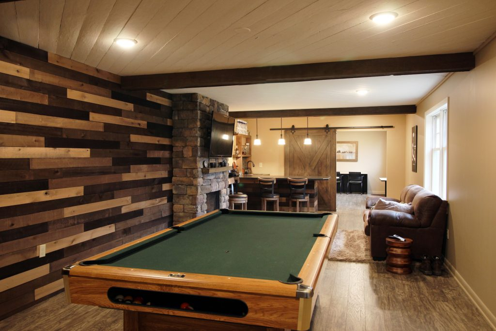 Basement renovation with pool table